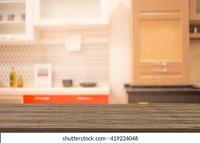 Blur Kitchen Room  Interior of Background, product display template.
