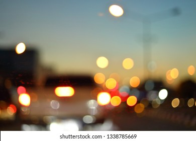 blur light traffic, car driving on night road city