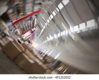 Blur loop motion in store. blur background concept.