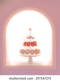 Blur Macarons on Serving Racks for Display, Soft and Dreamy Effect, Abstract, Blur