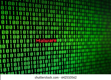 Blur malware code in binary file, Cyber attack from hacker.