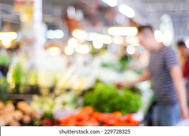 Blur market background with bokeh