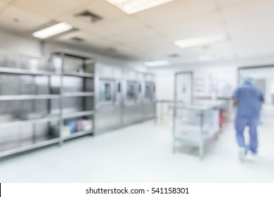Blur medical background central sterile supply department (CSSD) hygiene laboratory in hospital