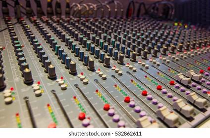 blur - Mixing Console  of a big HiFi system  The audio equipment, control panel of digital studio mixer. Close-up