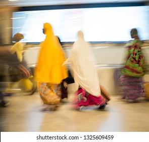 Blur motion people walking for travel