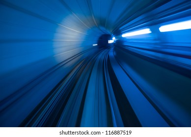 blur motion of tunnel in blue tone