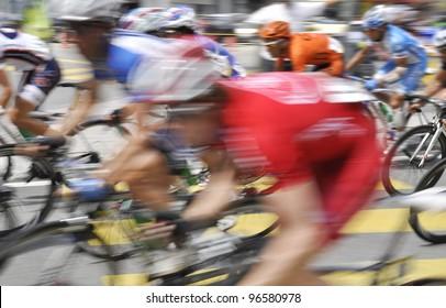 Blur motion.Cyclists from various teams at the le Tour de Langkawi race