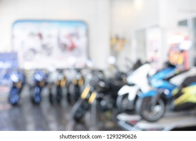 Blur motorcycle showroom background in Asia