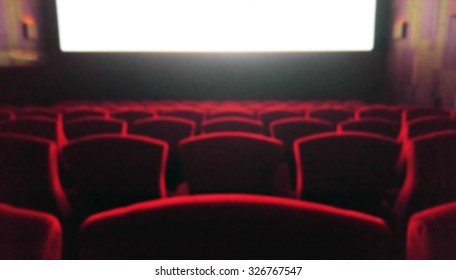 Blur Movie Theater with Red Chairs used as Template