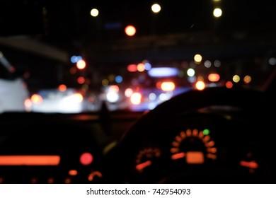 blur night light bokeh background. traffic-jam