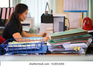 Blur Office of the Background, Closeup of office desk work, women doing work at office, Business
