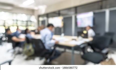 Blur office meeting blurred background with business people working group in boardroom discussion for teamwork brainstorming, executive seminar or professional training in small startup enterprise