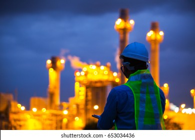 Blur oil refinery plant at sunrise with sky background,blur,bokeh