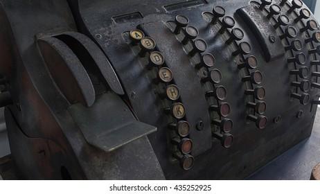 Blur old printing equipment