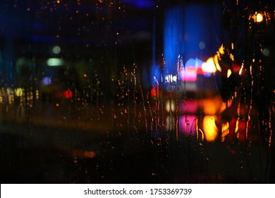 Blur on the glass from the rain