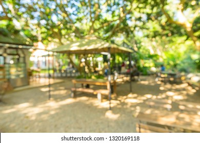 blur outdoor patio with table and chair for background.