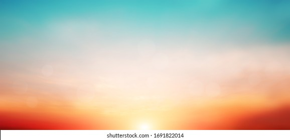 Blur pastels gradient sunset background on soft nature sunrise peaceful morning beach outdoor. heavenly mind view at a resort deck touching sunshine, sky summer clouds. - Shutterstock ID 1691822014