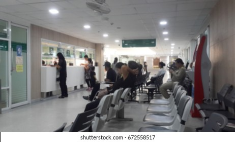 Blur of Patient waiting for medicine, Patient waiting to pay, Patient pay line. Patients on the line for pay medicine bill. Customer withdraw or deposit money from the bank. can be use in many concept