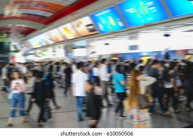 Blur people business crowded in station electric train morning time for Rush hour go to business