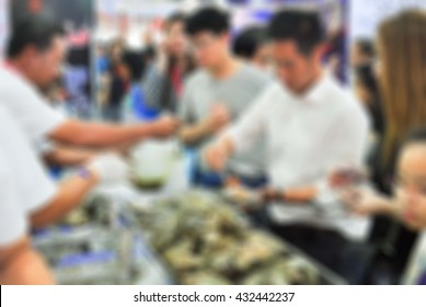 Blur People buy seafood  oyster