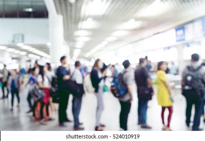 Blur people waiting passenger in line (queue) in bus transportation