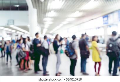 Blur people waiting passenger in line (queue) in bus transportation