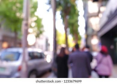 Blur people walking street in seoul ,south korea.