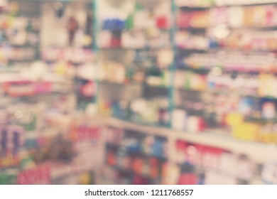 blur pharmacy interior store in shopping mall - blurred background concept