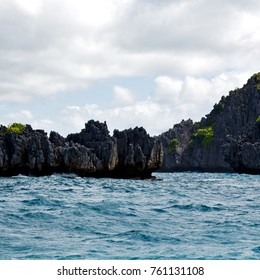 blur  in  philippines   a view from  boat  and the pacific ocean  islands  background