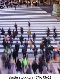 Blur Photography of Pedestrian crossing, Busy people go to work in the morning .