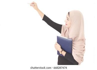 Blur, portraits, Muslim women,describing report, white background