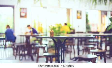 blur restaurant background, vintage picture style