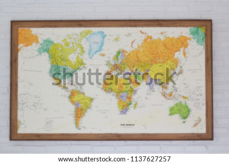 Blur Retro World Map On Wall Stock Photo Edit Now 1137627257