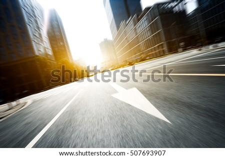 blur road modern office buildings hangzhou stock photo edit now