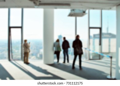 blur room office and window city view background