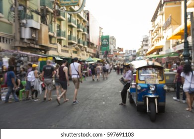 blur scene of Khao San road in afternoon. Khao San road is famous tourist hub in bangkok, Thailand