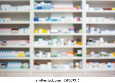 blur shelves of drugs in the pharmacy shop