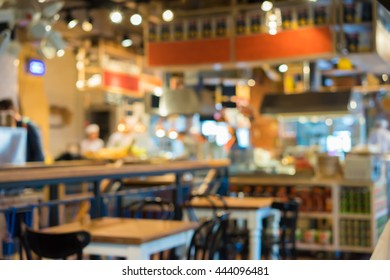 Blur shot on restaurant background. Blurred background with real bokeh.