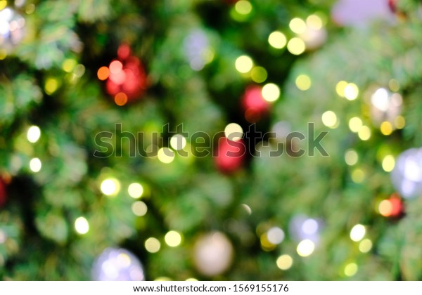 Blur, soft focus decorated Christmas tree.bokeh