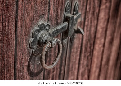 blur in south africa  antique door entrance and      decorative handle for background