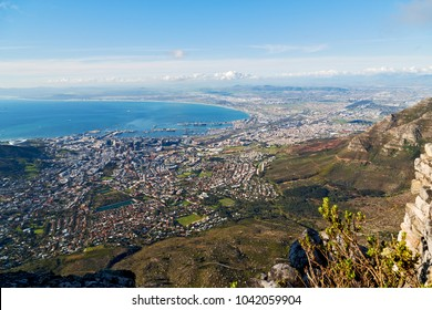 blur  in south africa cape town  city skyline from table mountain sky ocean and house