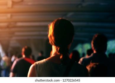 Blur sunlight rim on people for positive concept