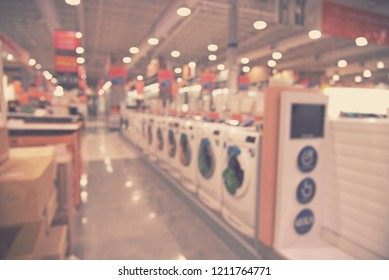 blur supermarket and hardware store - blurred background concept