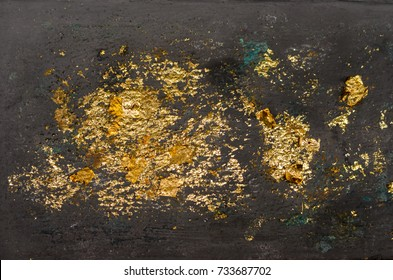 Blur Texture of the gold leaf, Gold background, Picture from Buddha image Back, gold leaf background