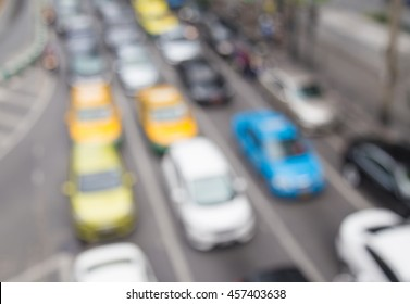 Blur traffic jam with bokeh light, transportation background