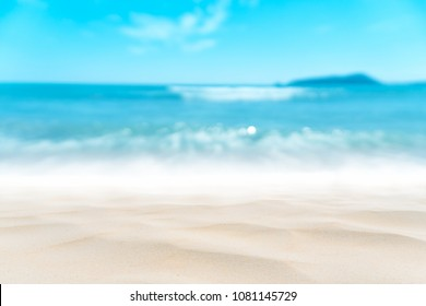 Blur tropical beach with bokeh sun light wave abstract background. Copy space of outdoor summer vacation and travel adventure concept. Vintage tone filter effect color style.