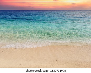 Blur tropical beach with different colors, sun light wave abstract background. Copy space of outdoor summer vacation and travel adventure concept. Vintage tone filter effect color style.