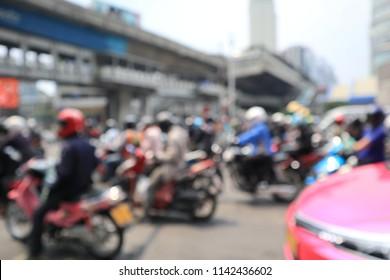Blur View of Bangkok Busy Traffic, Thailand
