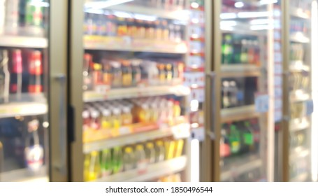 blur view of beverage displayed in refridgerators in convenience store. image of beverage cooler in market.