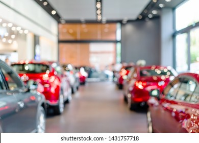 blur view of row new modern car in showroom